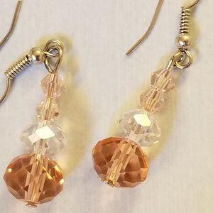 4/$30 NWT Handmade Earrings Glass Crystals Pink